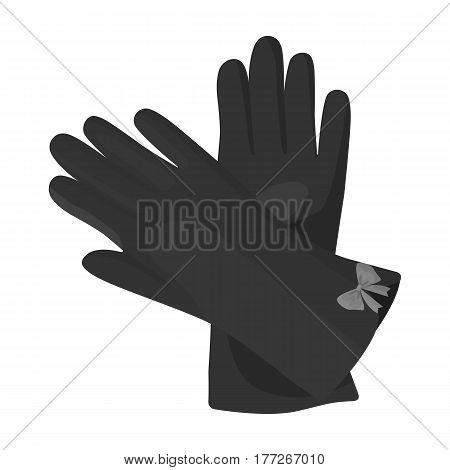 Warm burgundy gloves for hands. Female winter accessory.  Woman clothes single icon in monochrome style vector symbol stock web illustration.