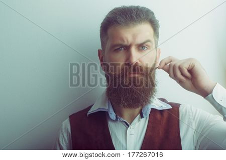Bearded Man, Brutal Caucasian Hipster With Serious Face