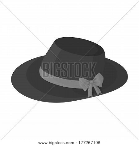 Red female hat with a bow. Summer hat for adult women.  Woman clothes single icon in monochrome style vector symbol stock web illustration.
