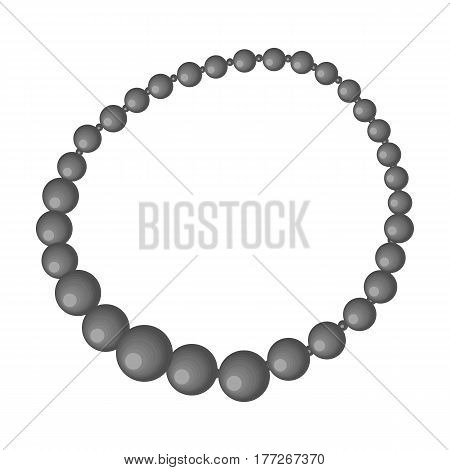 Red female necklace of precious stones. Dressing for women under the dress.  Woman clothes single icon in monochrome style vector symbol stock web illustration.