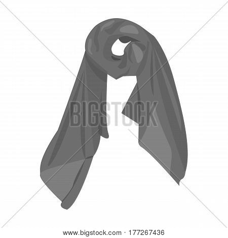 Red silk woman s scarf. Female an accessory scarf. Woman clothes single icon in monochrome style vector symbol stock web illustration.