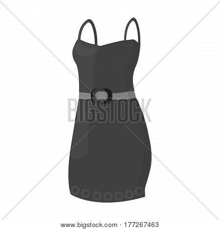 Beautiful red evening dress for women. Detail of a woman wardrobe.  Woman clothes single icon in monochrome style vector symbol stock web illustration.