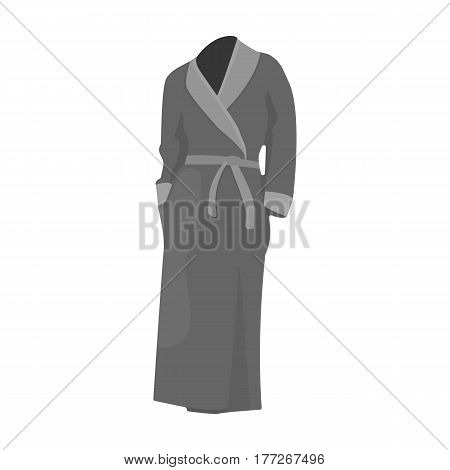 Pink lady s gown after bath. Home clothes for women. Woman clothes single icon in monochrome style vector symbol stock web illustration.
