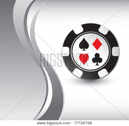casino chip silver wave background