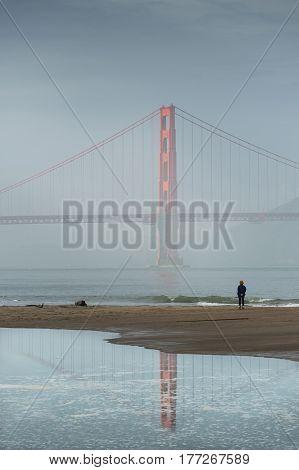 Mirror Golden Gate Bridge California Famous Place International Landmark