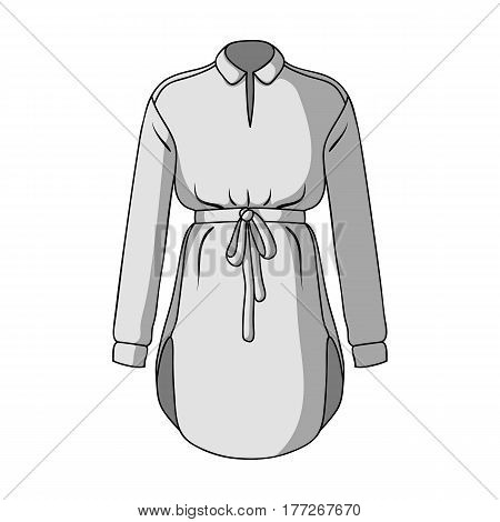 Women s shirt with a belt for housework. A dirty white apron for women.Women clothing single icon in monochrome style vector symbol stock web illustration.