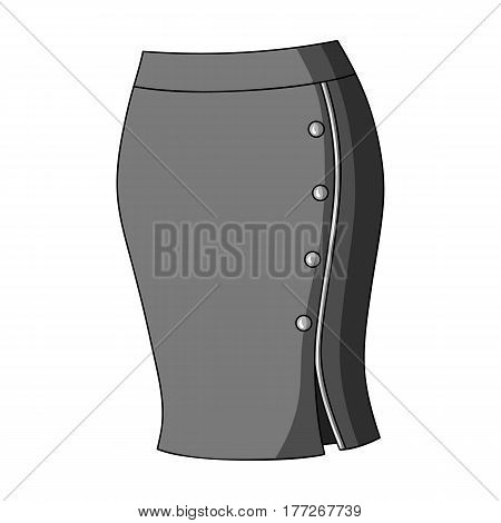 Blue-fitting skirt with slit and buttons. Part strict working style of clothing.Women clothing single icon in monochrome style vector symbol stock web illustration.