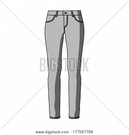 Green skinny pants for women. Women s clothes for a walk.Women clothing single icon in monochrome style vector symbol stock web illustration.