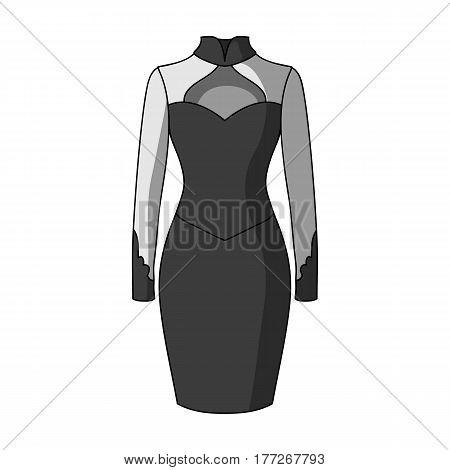 Strict two-color female dress to the knee. Dresses working style.Women clothing single icon in monochrome style vector symbol stock web illustration.