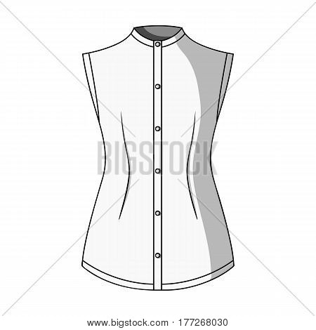 Beige button-down shirt without sleeves for the girl. Casual dress style.Women clothing single icon in monochrome style vector symbol stock web illustration.
