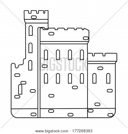 Concrete castle with peaks in Scotland.Fortification of the ancient Scots.Scotland single icon in outline style vector symbol stock web illustration.