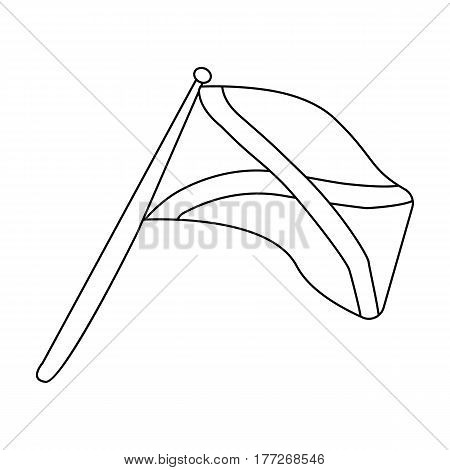 Scotland flag on a wooden stick.The Scottish national flag.Scotland single icon in outline style vector symbol stock web illustration.