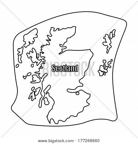Scotland the map.Scotland is a Country on the world map.Scotland single icon in outline style vector symbol stock web illustration.