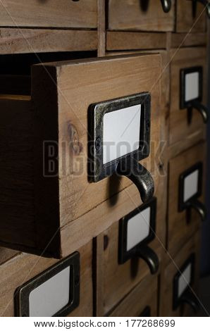 Open Drawer In Wooden Index Card Units