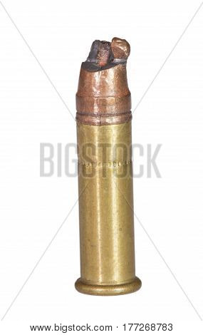 Bullet on a rimfire cartridge that has been bent when going into the chamber