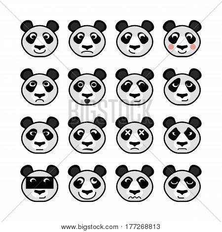 Emoticon Animals Panda Set Of Emotions Vector Flat Smiley Icons