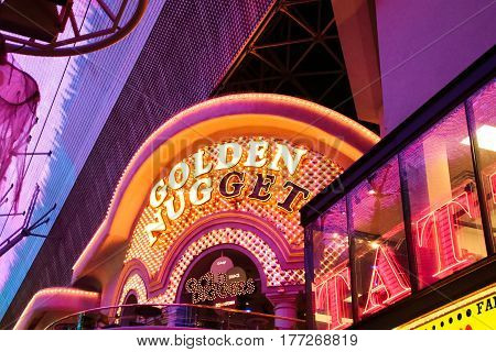 LAS VEGAS - OCT 09 : The golden nugget sign at the Fremont Street Experience on Oct 09 2016 in Las Vegas Nevada. The Fremont Street Experience is a pedestrian mall and attraction in downtown Las Vegas