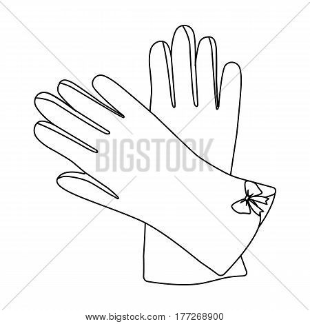 Warm burgundy gloves for hands. Female winter accessory.  Woman clothes single icon in outline style vector symbol stock web illustration.