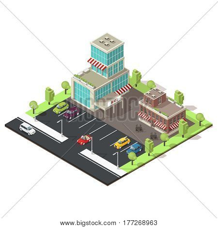 Isometric shopping center template with mall and cafe buildings colorful cars on parking zone and green trees vector illustration