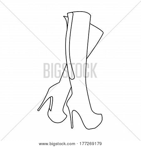 Leather high-heeled women sexy shoes.     Woman clothes single icon in outline style vector symbol stock web illustration.