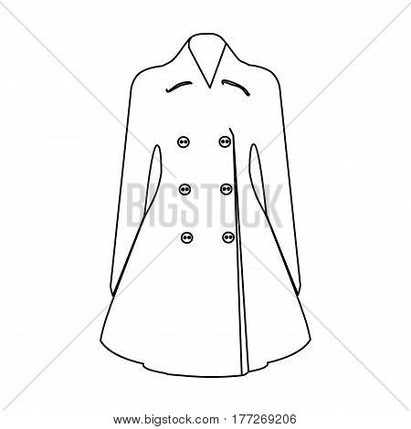 Blue female restrained coat buttoned. Women s outerwear. Woman clothes single icon in outline style vector symbol stock web illustration.