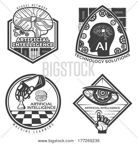 Vintage artificial intelligence emblems set with scientific cybernetic futuristic innovations and technologic solutions isolated vector illustration