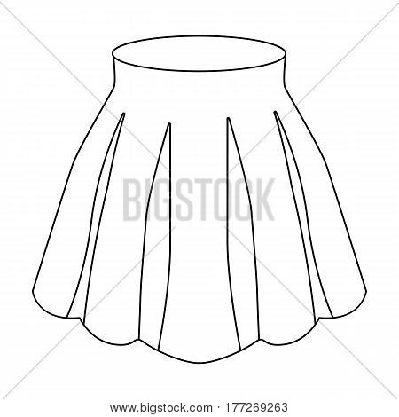 Orange women s light summer skirt with pleats. Beautiful women s summer clothing. Woman clothes single icon in outline style vector symbol stock web illustration.