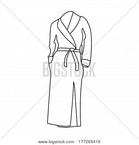 Pink lady s gown after bath. Home clothes for women. Woman clothes single icon in outline style vector symbol stock web illustration.
