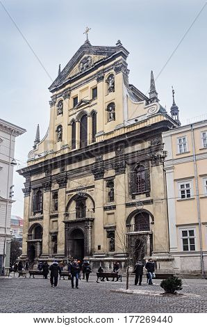 Lviv Ukraine - February 01 2017: Church of St. Peter and Paul of the Order of the Jesuits. Built in 1610-1630
