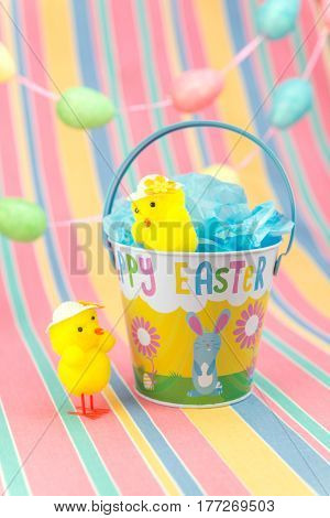 Easter Fete Scene With Chicks And Enamel Bucket. Vertical.