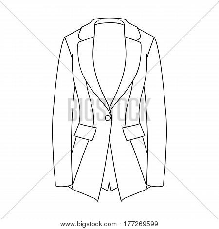 Grey Women s jacket with pockets. Work austere style.Women clothing single icon in outline style vector symbol stock web illustration.