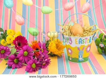 Easter Display, Flowers, Eggs, Bucket, Bright Spring Colours.