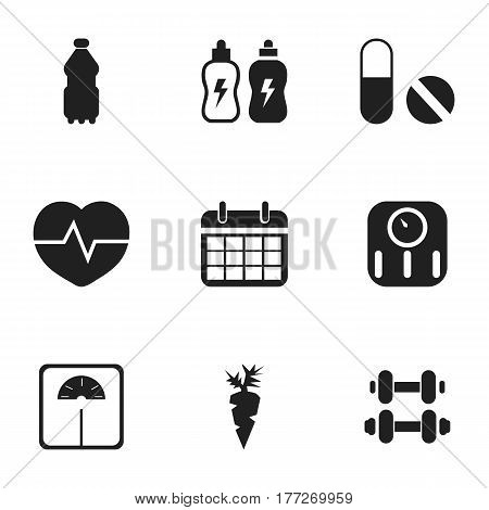 Set Of 9 Editable Training Icons. Includes Symbols Such As Date Plan, Pill, Sport Water And More. Can Be Used For Web, Mobile, UI And Infographic Design.