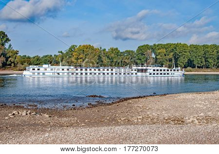 River Cruise Ship on Rhine River in Rhine Valley,Germany