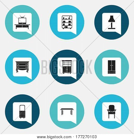 Set Of 9 Editable Furnishings Icons. Includes Symbols Such As Wall Mirror, Cabinet, Locker And More. Can Be Used For Web, Mobile, UI And Infographic Design.
