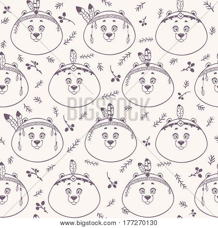 Seamless pattern with character cute and funny bears with feathers in ethnic style. Vector illustration. Cool stylish wallpaper