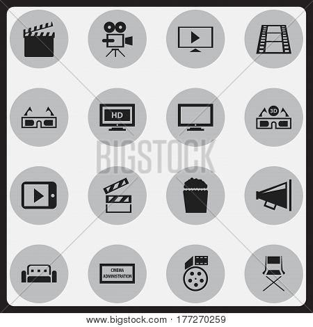 Set Of 16 Editable Movie Icons. Includes Symbols Such As Monitor, Action, Chair And More. Can Be Used For Web, Mobile, UI And Infographic Design.
