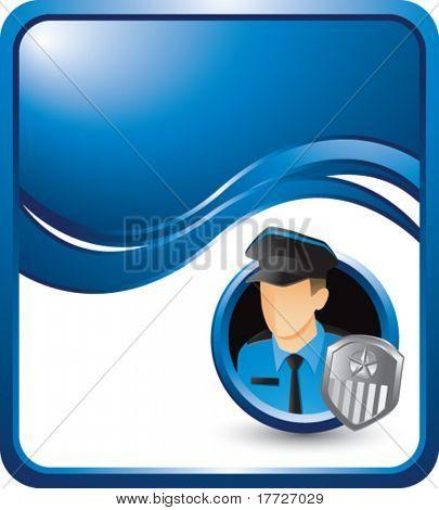 police officer blue wave background