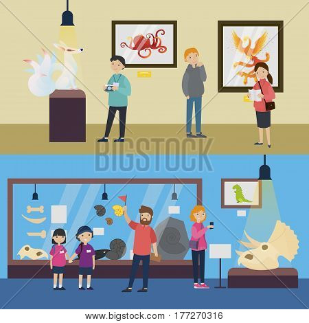 Cultural recreation horizontal banners with people visiting art gallery and archaeological museum of paleontology vector illustration