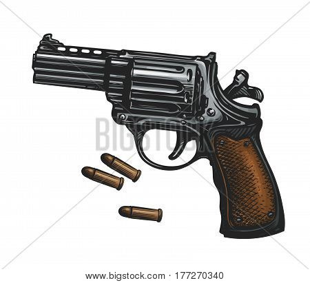 Pistol, revolver gun and ammo, sketch. Vintage vector illustration isolated on white background