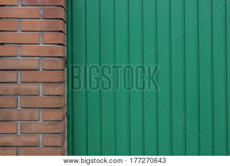 Green Metal And Brick Wall Can Use For Background