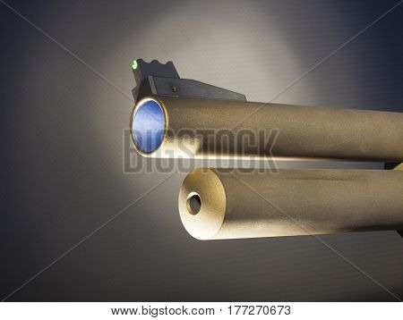 Front end of a shotgun barrel with glowing sight and tube magazine