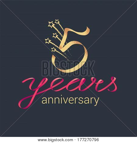 5 years anniversary vector icon logo. Graphic design element with lettering and red ribbon for decoration for 5th anniversary ceremony