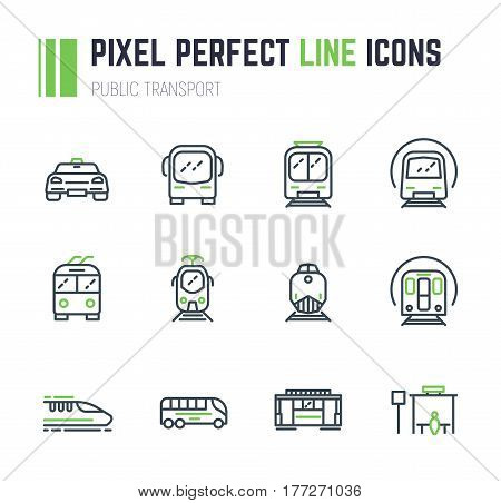 Set of 12 public transport thin line style icons. Taxi and bus. Electrical transport tram subway train. Public bus stop sign. Speed monorail train and locomotive. Old trolleybus.
