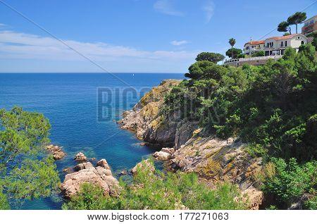 coastal Landscape in Tossa de Mar at Costa Brava in Catalonia,Spain
