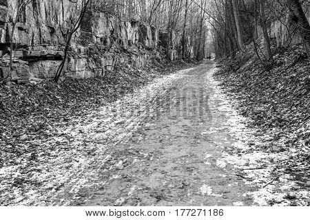 A couple walking the Bruce Trail winter path with rock wall on both sides snow and leaves black and white