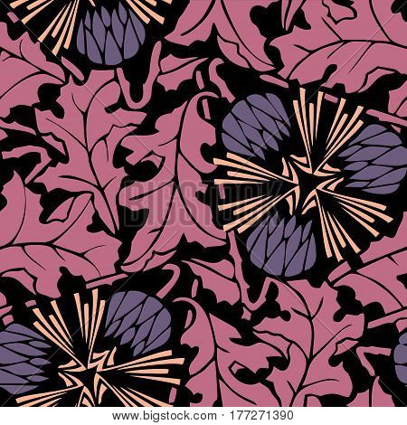 Dandelion floral seamless pattern vector. Flower background with leaves in pink, purple, beige and black colors