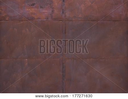 Old Rusty Metal Wall . Weathered Rust And Scratched Steel Texture Useful For Background
