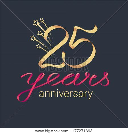 25 years anniversary vector icon logo. Graphic design element with lettering and red ribbon for decoration for 25th anniversary ceremony