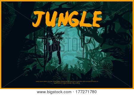 Green jungle landscape natural poster with monkeys on tropical trees in wild rainforest vector illustration